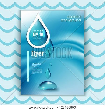Blue shiny water drops banners set. Vector illustration. Fresh rain template for cover card design. Pure organic water. Clean water. Mountain mineral rich water. Spring water.