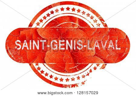 saint-genis-laval, vintage old stamp with rough lines and edges