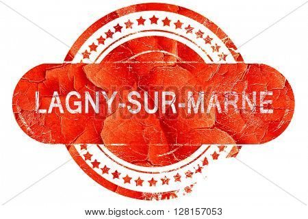 lagny-sur-marne, vintage old stamp with rough lines and edges