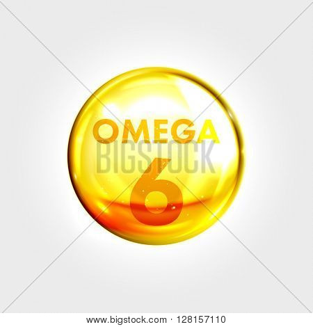 Omega 6 gold icon. Vitamin drop pill capsule. Shining golden essence droplet. Beauty treatment nutrition skin care design. Vector illustration.