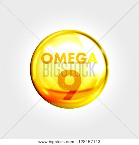 Omega 9 gold icon. Vitamin drop pill capsule. Shining golden essence droplet. Beauty treatment nutrition skin care design. Vector illustration.