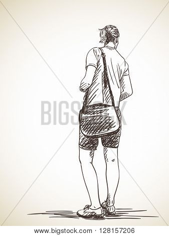 Sketch of standing tall woman with bag Hand drawn illustration