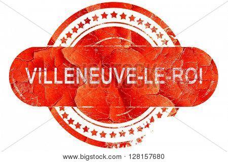 villeneuve-le-roi, vintage old stamp with rough lines and edges