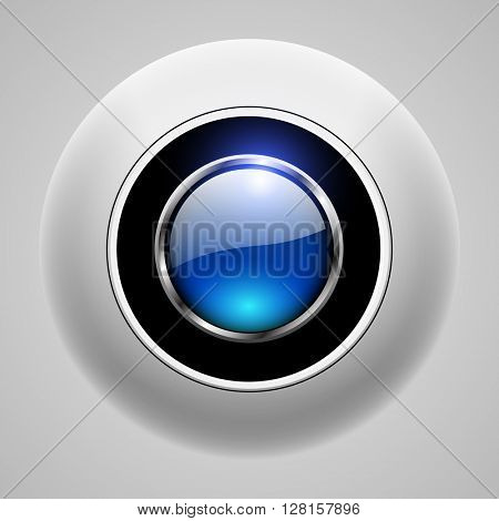 Button 3d blue, shiny vector background.