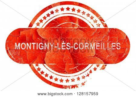 montigny-les-cormeilles, vintage old stamp with rough lines and