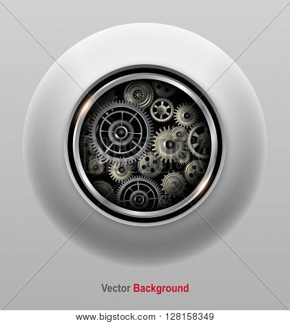 Background 3D with technology gears, vector illustration.