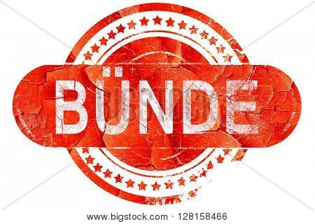 Bunde, vintage old stamp with rough lines and edges
