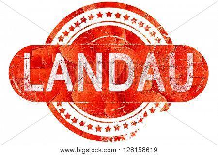 Landau, vintage old stamp with rough lines and edges