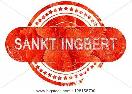 Sankt ingbert, vintage old stamp with rough lines and edges