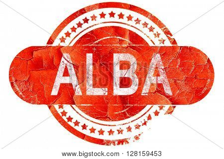 Alba, vintage old stamp with rough lines and edges