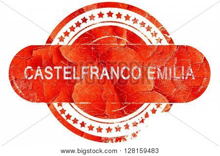 Castelfranco emilia, vintage old stamp with rough lines and edge