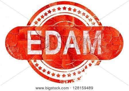 Edam, vintage old stamp with rough lines and edges