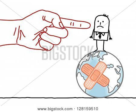 big hand and cartoon character - man on damaged Earth