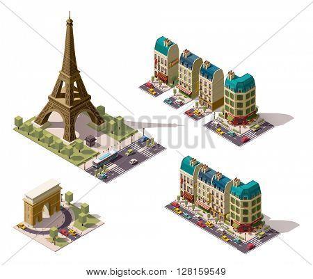 Vector isometric Paris architecture elements
