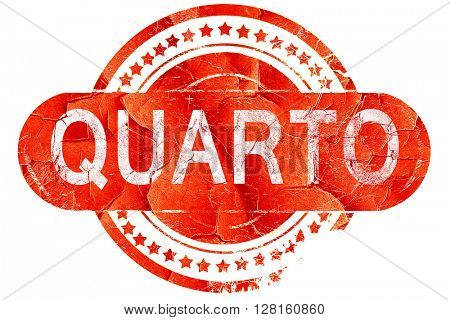 Quarto, vintage old stamp with rough lines and edges