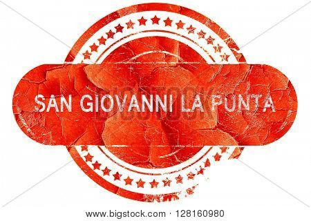 San giovanni la punta, vintage old stamp with rough lines and ed