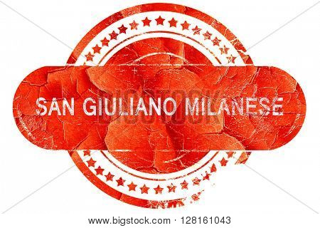 San giuliano milanese, vintage old stamp with rough lines and ed