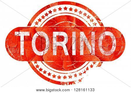 Torino, vintage old stamp with rough lines and edges