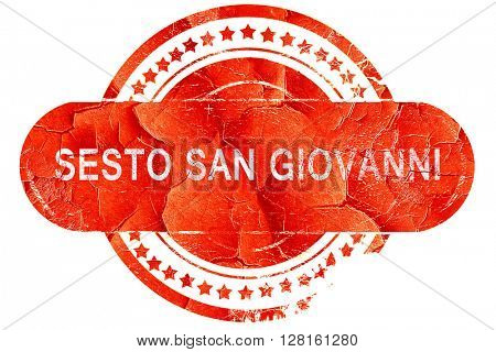 Sesto san giovanni, vintage old stamp with rough lines and edges