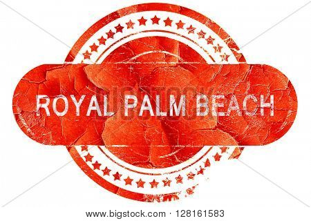 royal palm beach, vintage old stamp with rough lines and edges