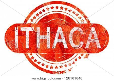ithaca, vintage old stamp with rough lines and edges