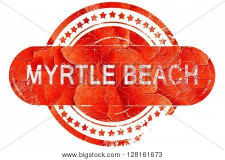 myrtle beach, vintage old stamp with rough lines and edges