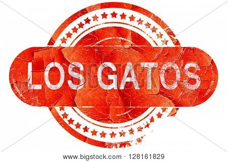 los gatos, vintage old stamp with rough lines and edges