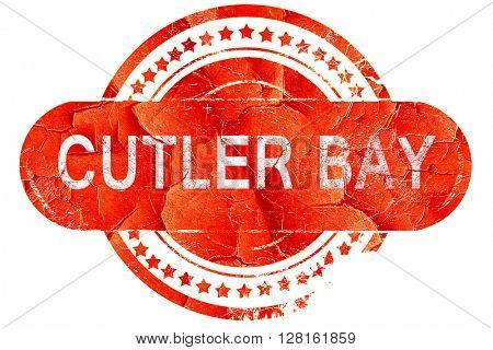 cutler bay, vintage old stamp with rough lines and edges