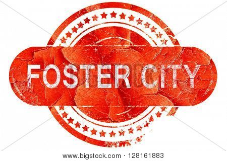 foster city, vintage old stamp with rough lines and edges