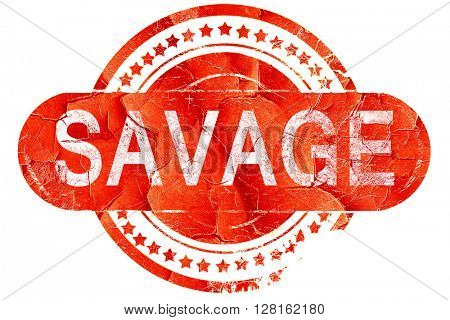 savage, vintage old stamp with rough lines and edges