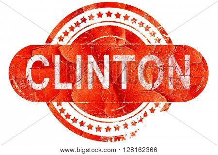 clinton, vintage old stamp with rough lines and edges
