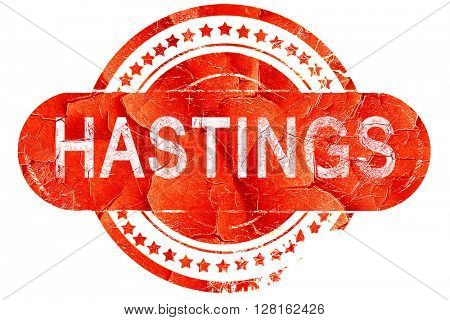 hastings, vintage old stamp with rough lines and edges