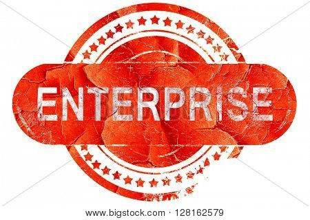 enterprise, vintage old stamp with rough lines and edges