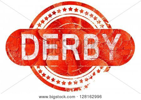 derby, vintage old stamp with rough lines and edges