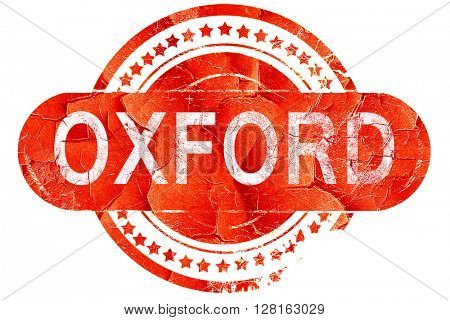 oxford, vintage old stamp with rough lines and edges