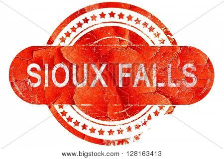 sioux falls, vintage old stamp with rough lines and edges