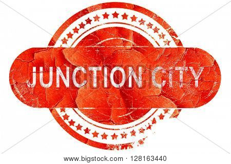 junction city, vintage old stamp with rough lines and edges