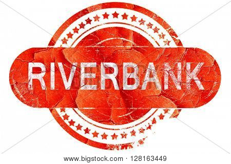 riverbank, vintage old stamp with rough lines and edges