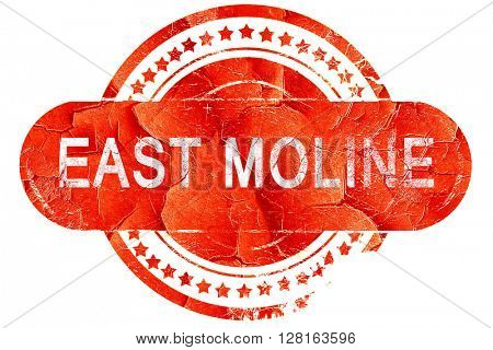east moline, vintage old stamp with rough lines and edges