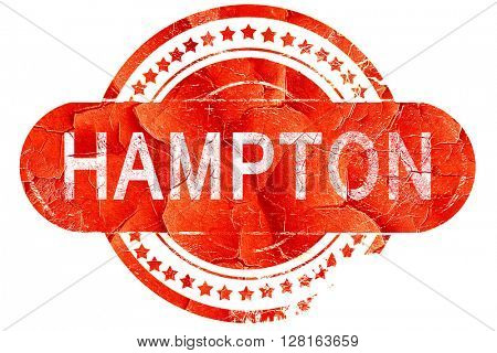 hampton, vintage old stamp with rough lines and edges