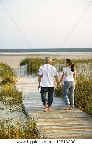 Back view of mid-adult Caucasian couple walking down walkway to beach.