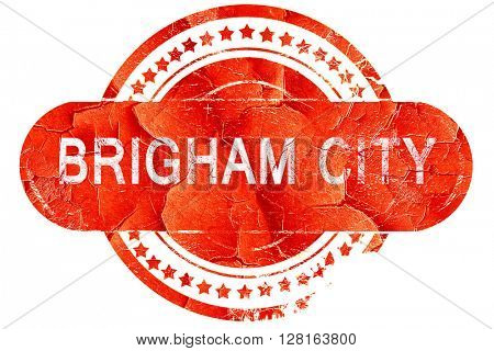 brigham city, vintage old stamp with rough lines and edges