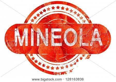 mineola, vintage old stamp with rough lines and edges