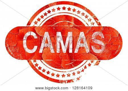 camas, vintage old stamp with rough lines and edges
