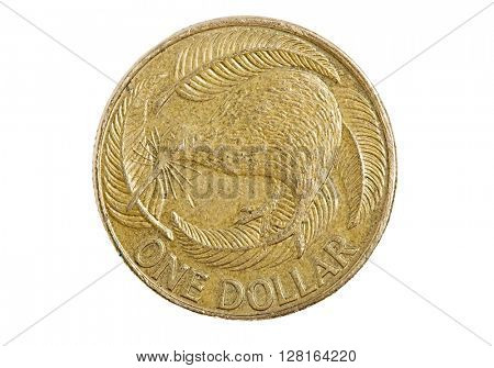 One Australian Dollar coin isolated on white background