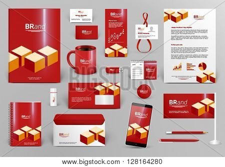 Red luxury branding design kit with cubes. Premium corporate identity template. Business stationery mock-up and documentation with logo. Editable vector illustration: folder, envelope, cup, card, etc.