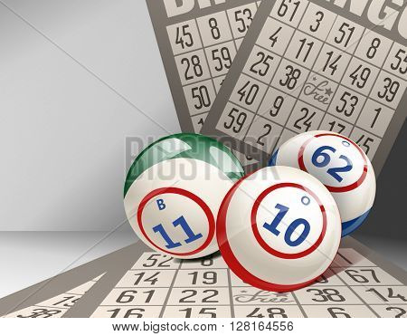 Bingo Background with Balls and Cards. Lottery.