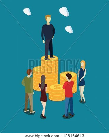 businessman on the coin stack increasing. Flat isometric vector illustration.