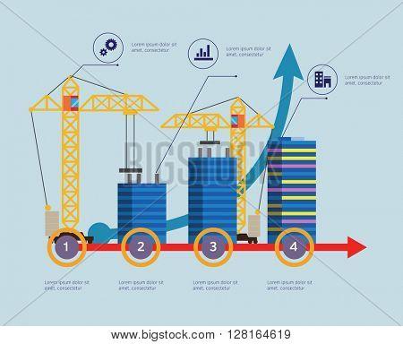 Construction buildings illustration infographic elements flat design.