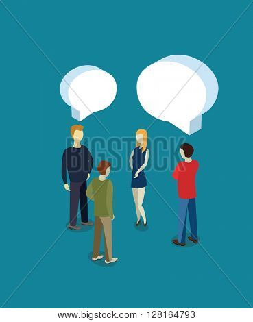 People are speaking with speech bubbles. Flat vector illustration.
